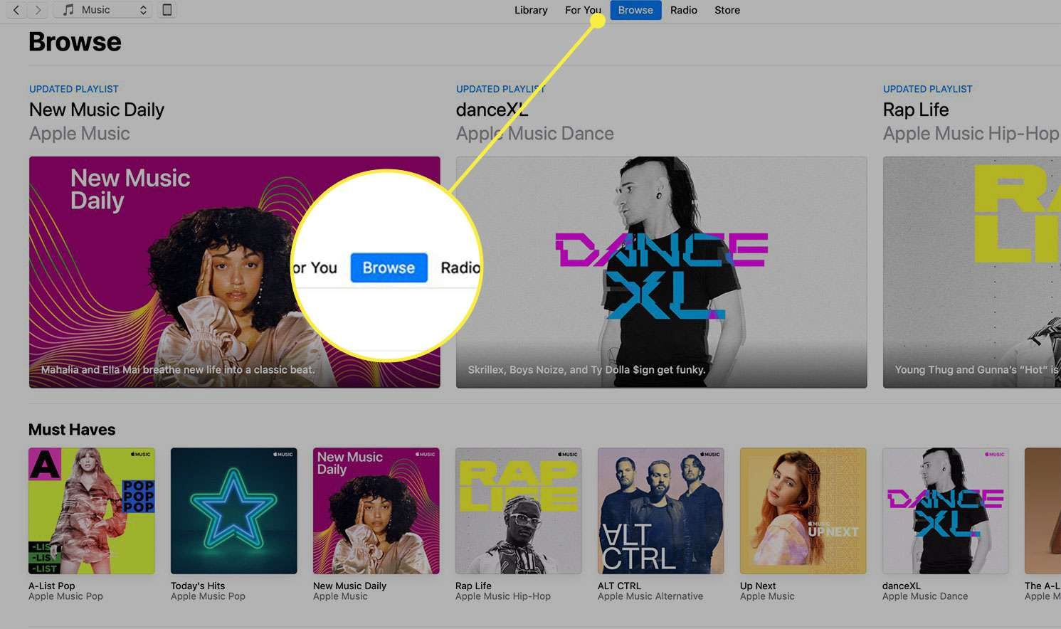 A screenshot of iTunes with the Browse heading highlighted