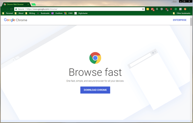 Chrome's landing page