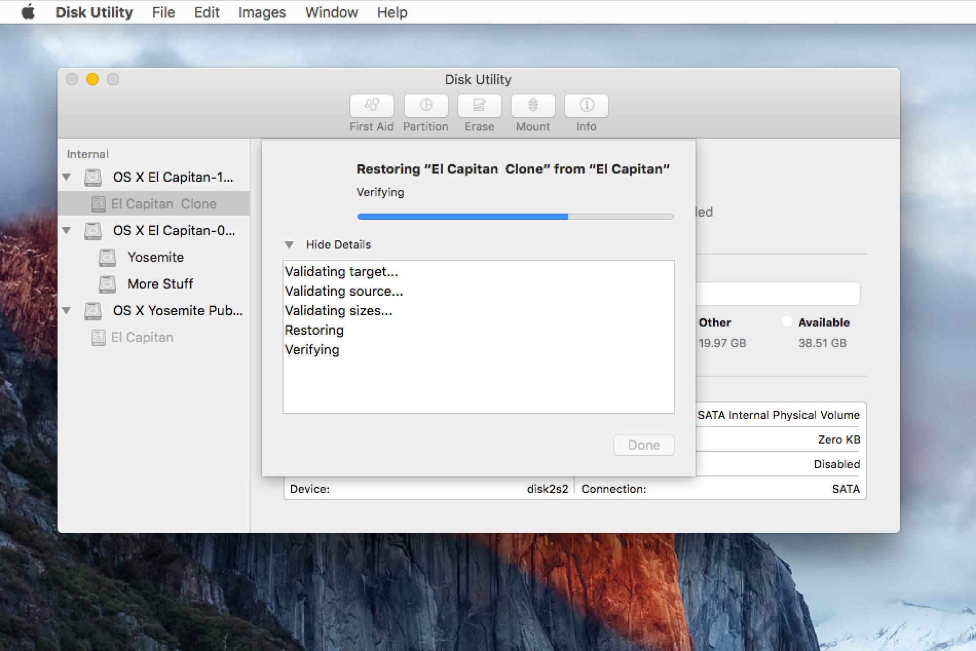 Disk Utility Restore process details in OS X El Capitan