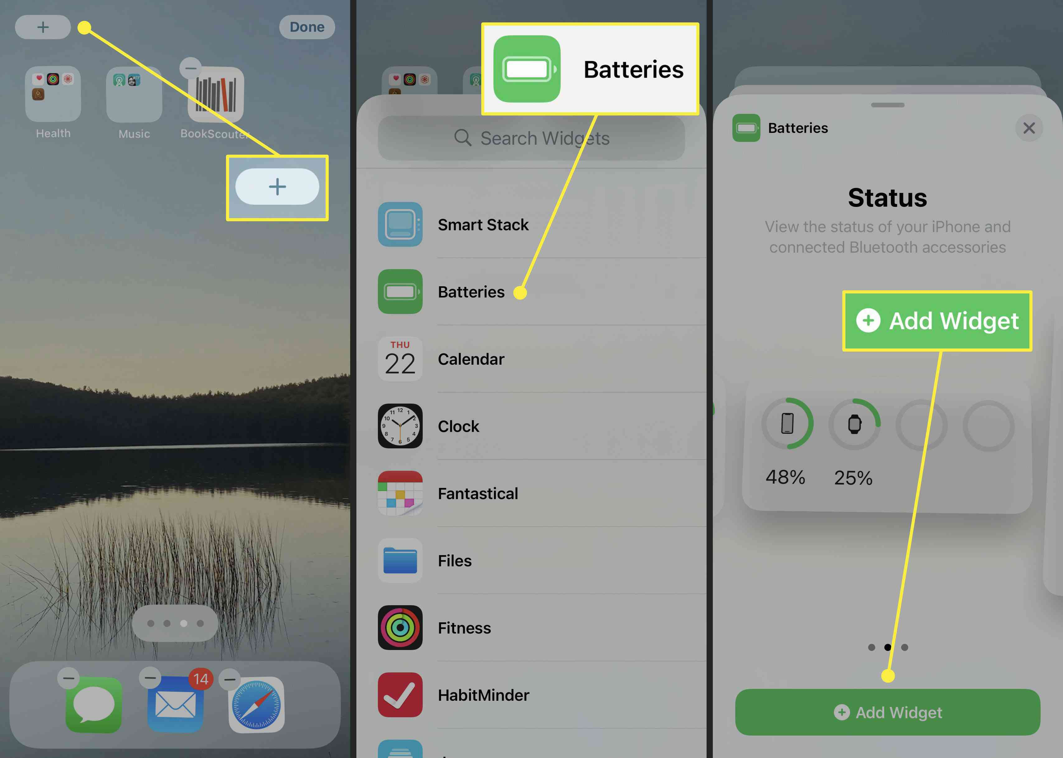 How to add the battery widget on the iPhone running iOS 14.
