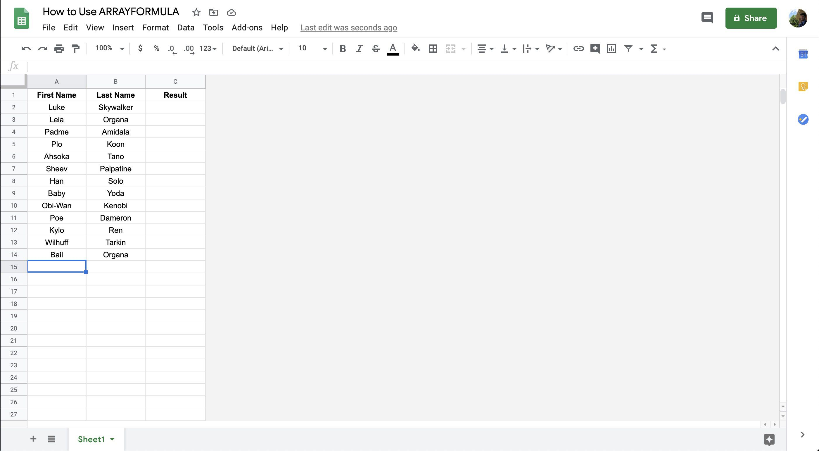 A spreadsheet in Google Sheets