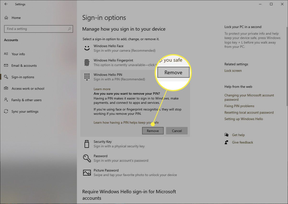 Windows 10 remove PIN confirmation with Remove highlighted