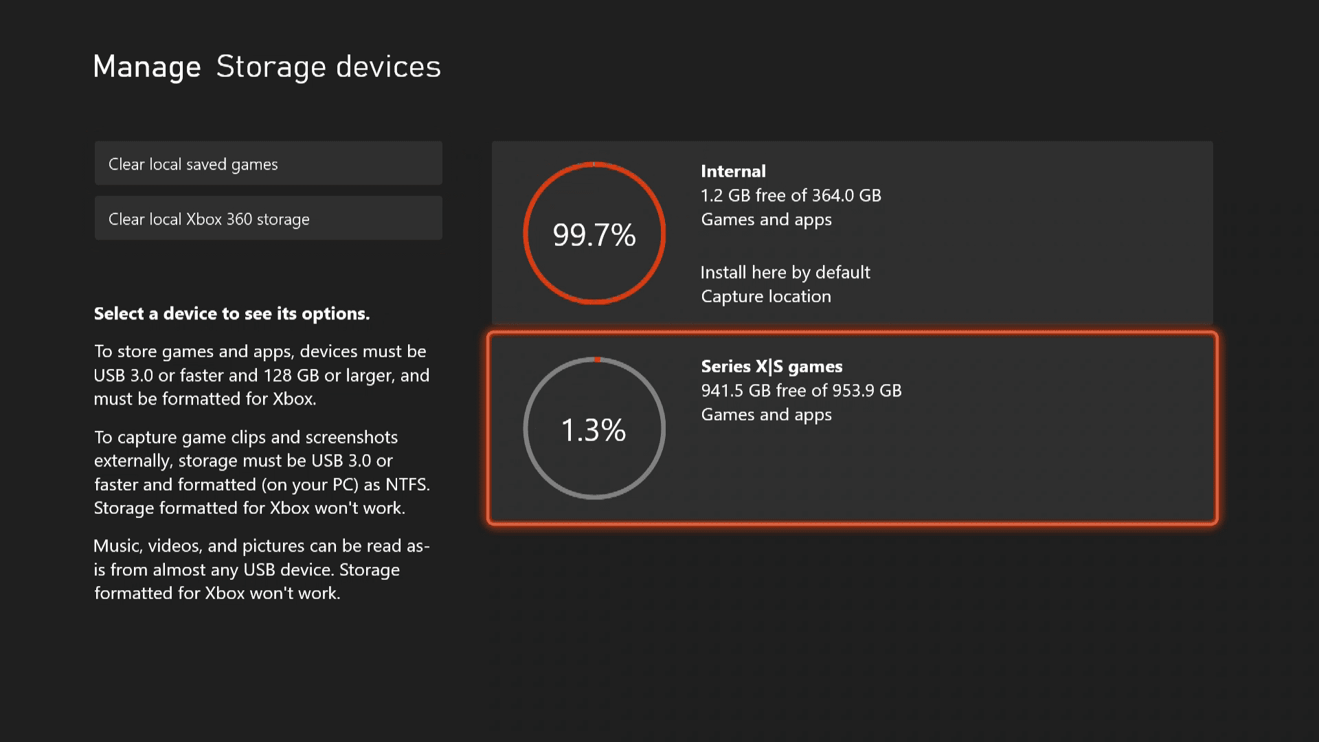 Storage device management on Xbox Series X|S.