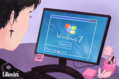 Person using Windows 7 repair tool