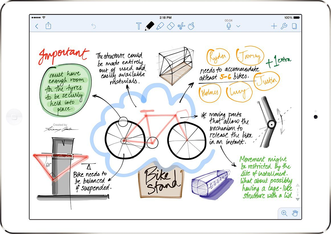Notability app on an iPad with drawing of a bike