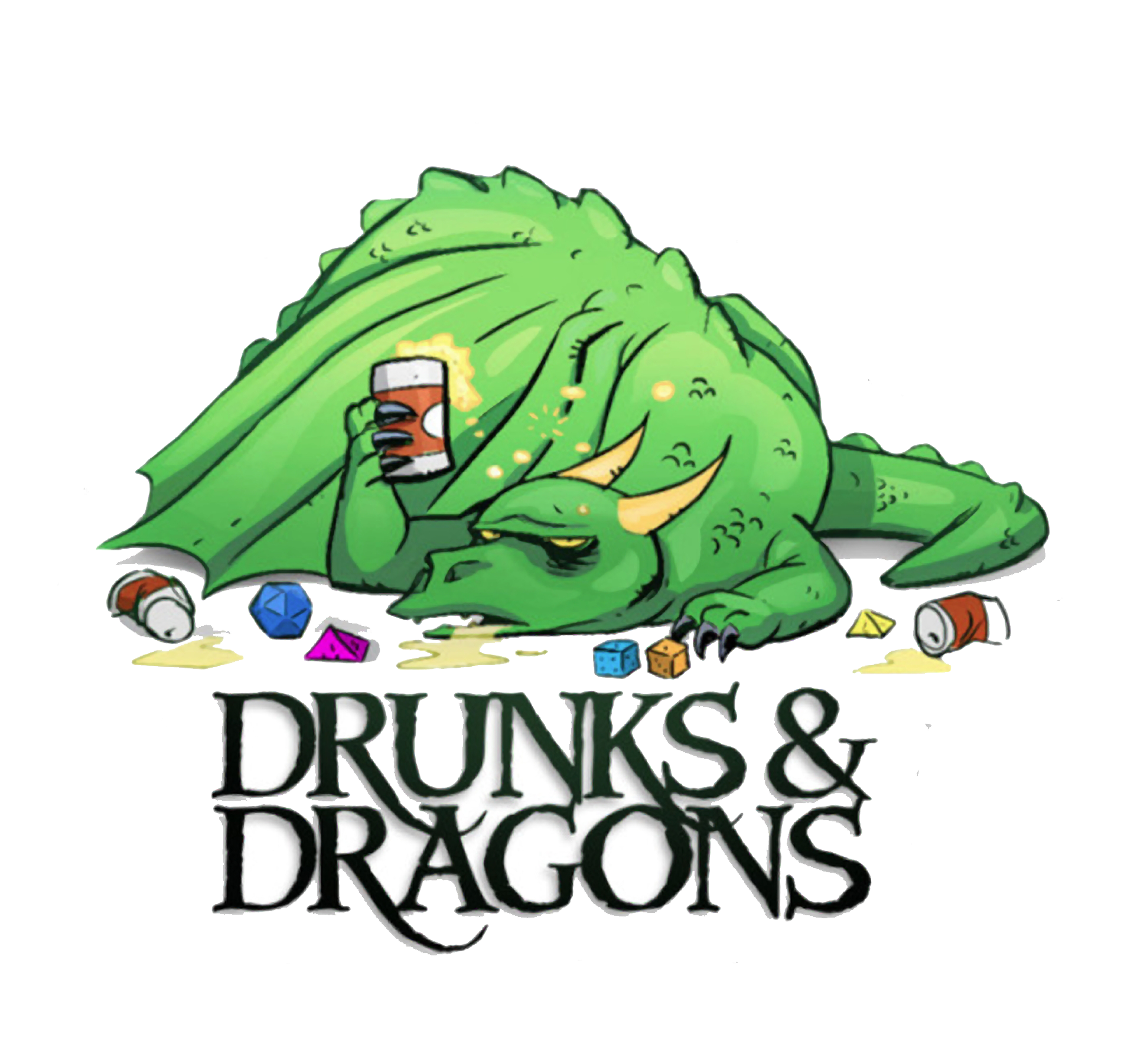 Drunks and Dragons logo with a drunken dragon.