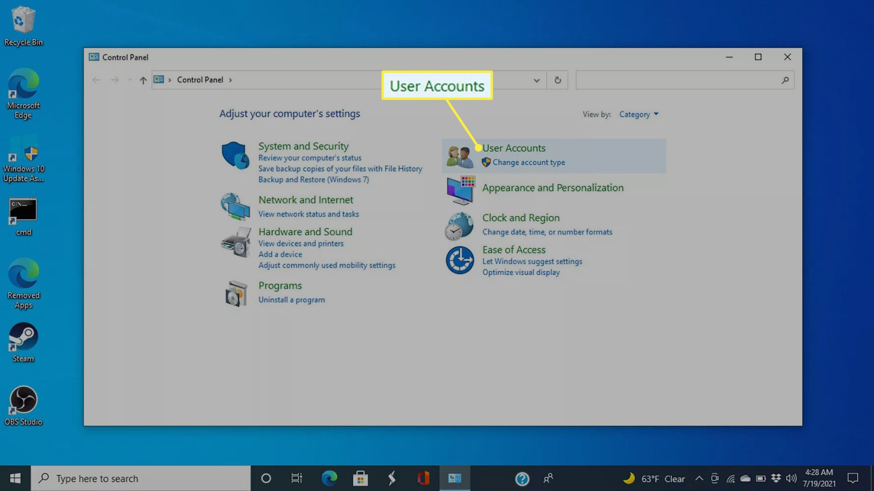 User Accounts in the Windows 10 Control Panel
