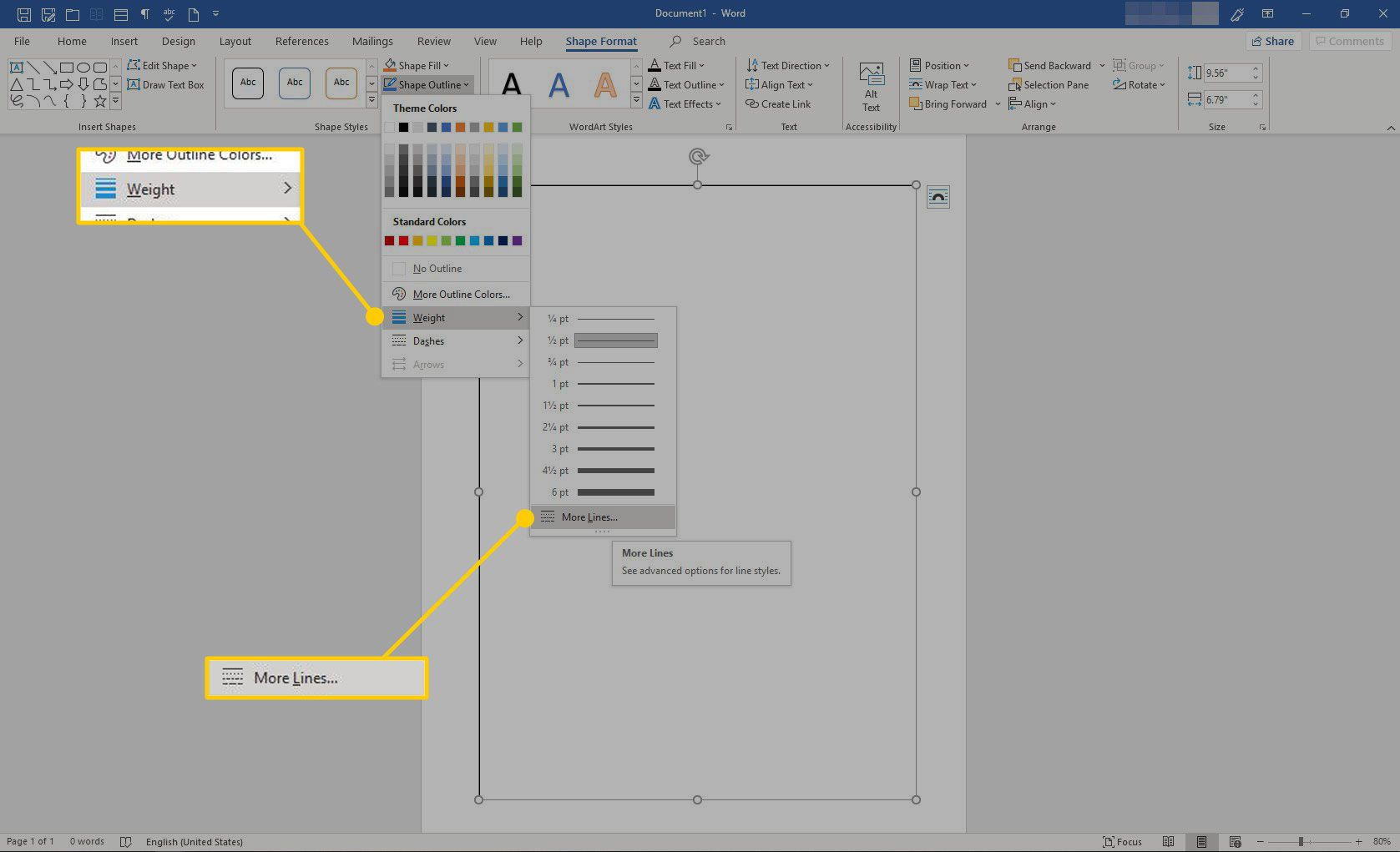 More Lines option in Word