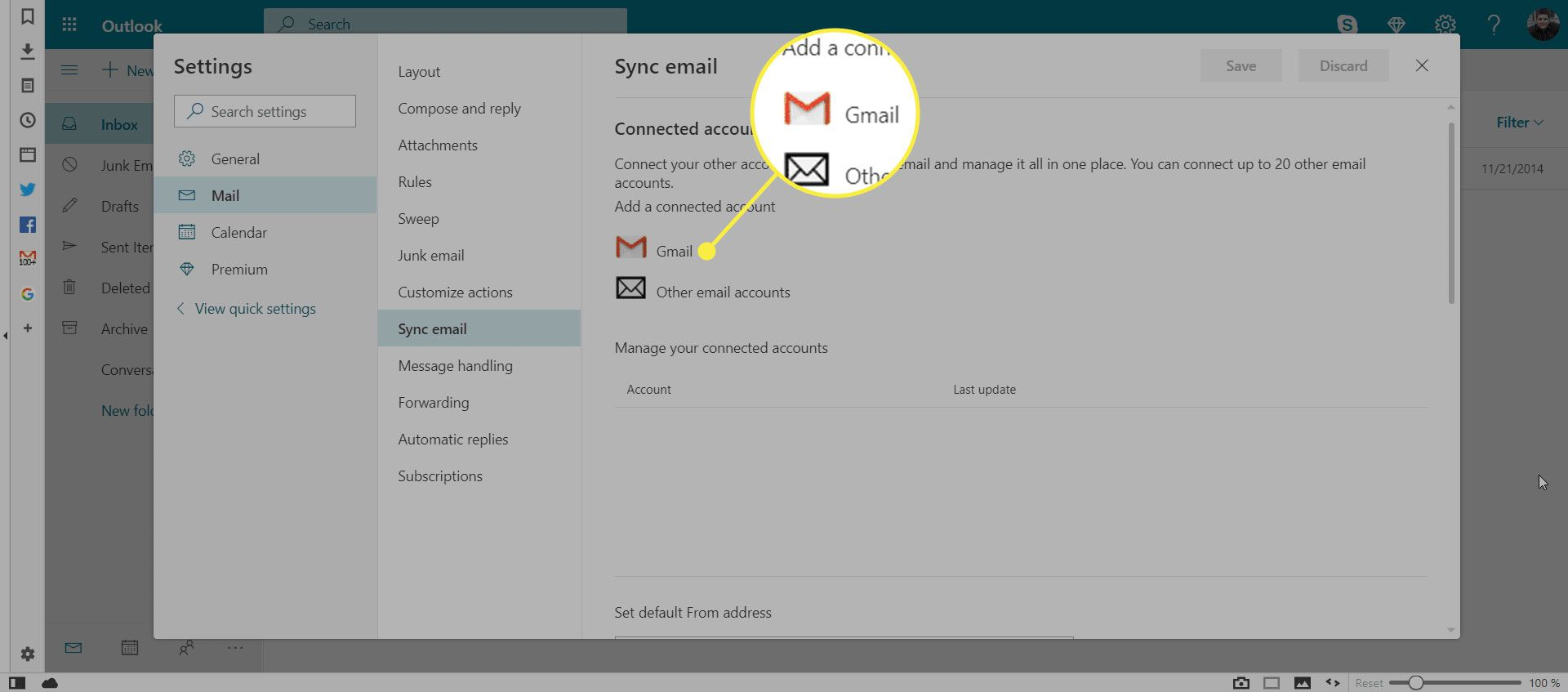 Gmail in the Sync Email menu