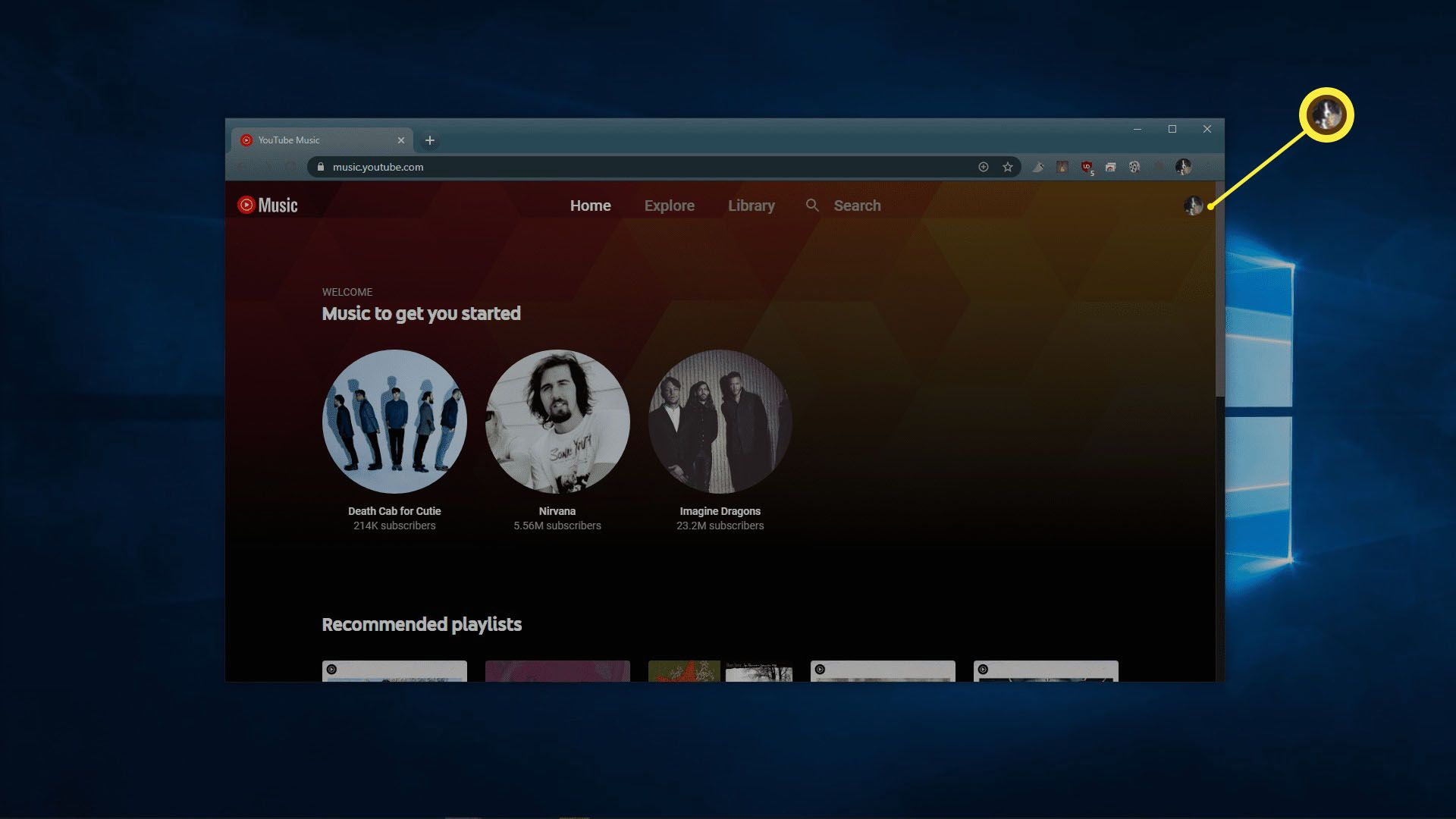 YouTube Music in a web browser.