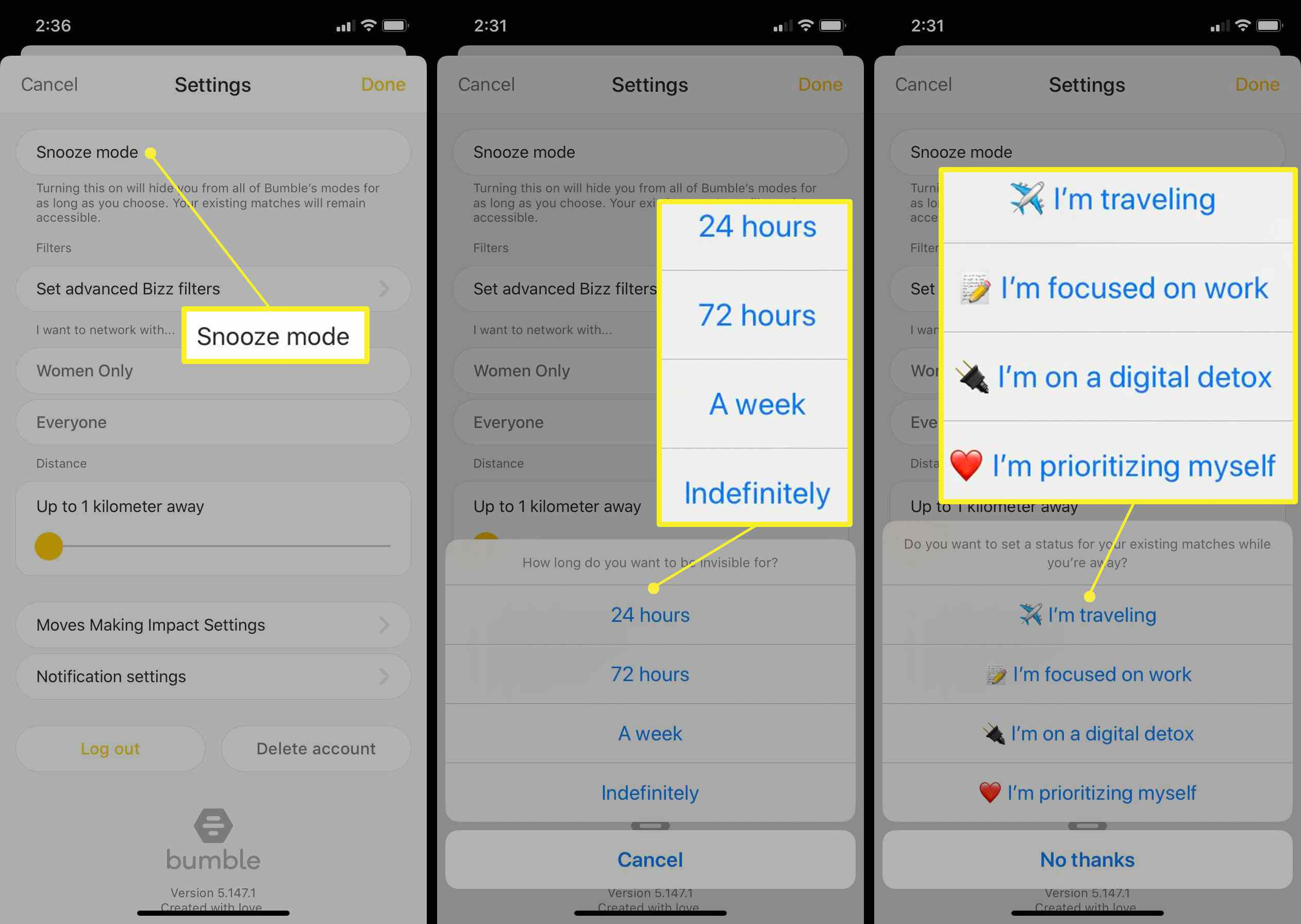 Snooze mode options in Bumble