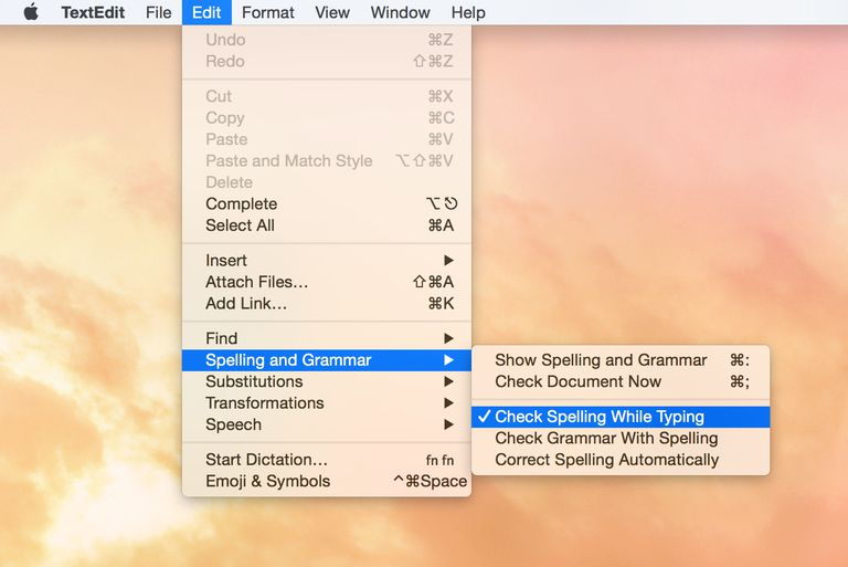 Spelling and Grammar Menu
