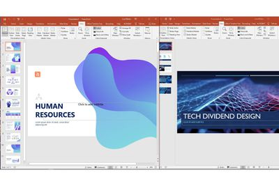Two PowerPoint presentations side by side.
