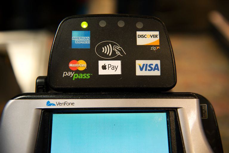 A photo of a credit card reader that uses NFC technology to accept payments.