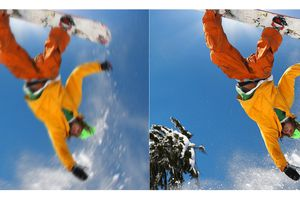 Two images of a snowboarder side by side; left one is blurry with motion, the other is in focus