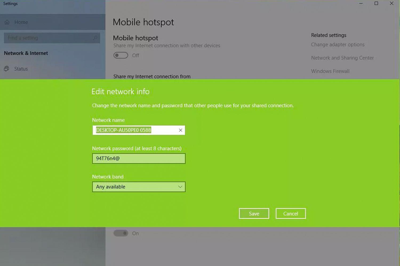 Edit network info window