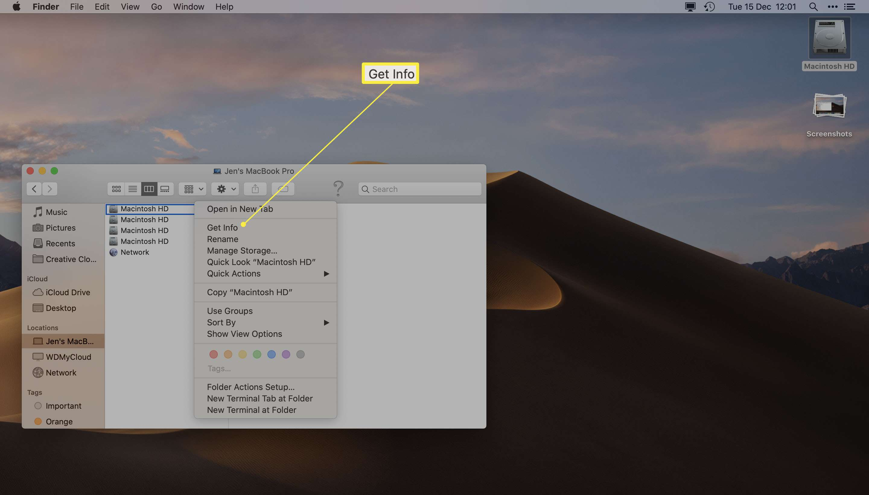 Finder with Macintosh HD right clicked and Get Info highlighted