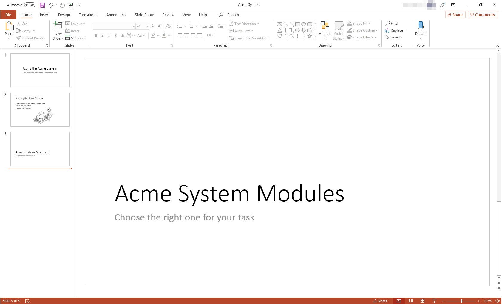 MS PowerPoint presentation with Section Header slide layout displayed