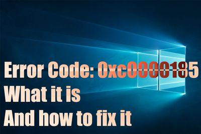 Error code 0xc0000185 header
