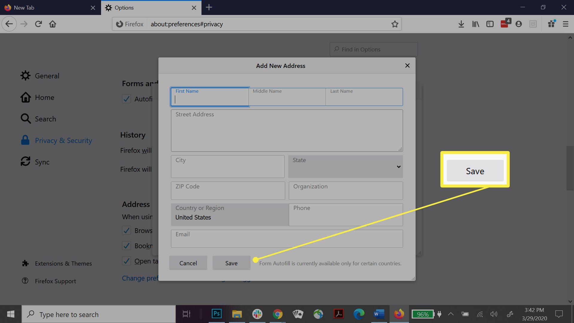 Adding a new address in Firefox.
