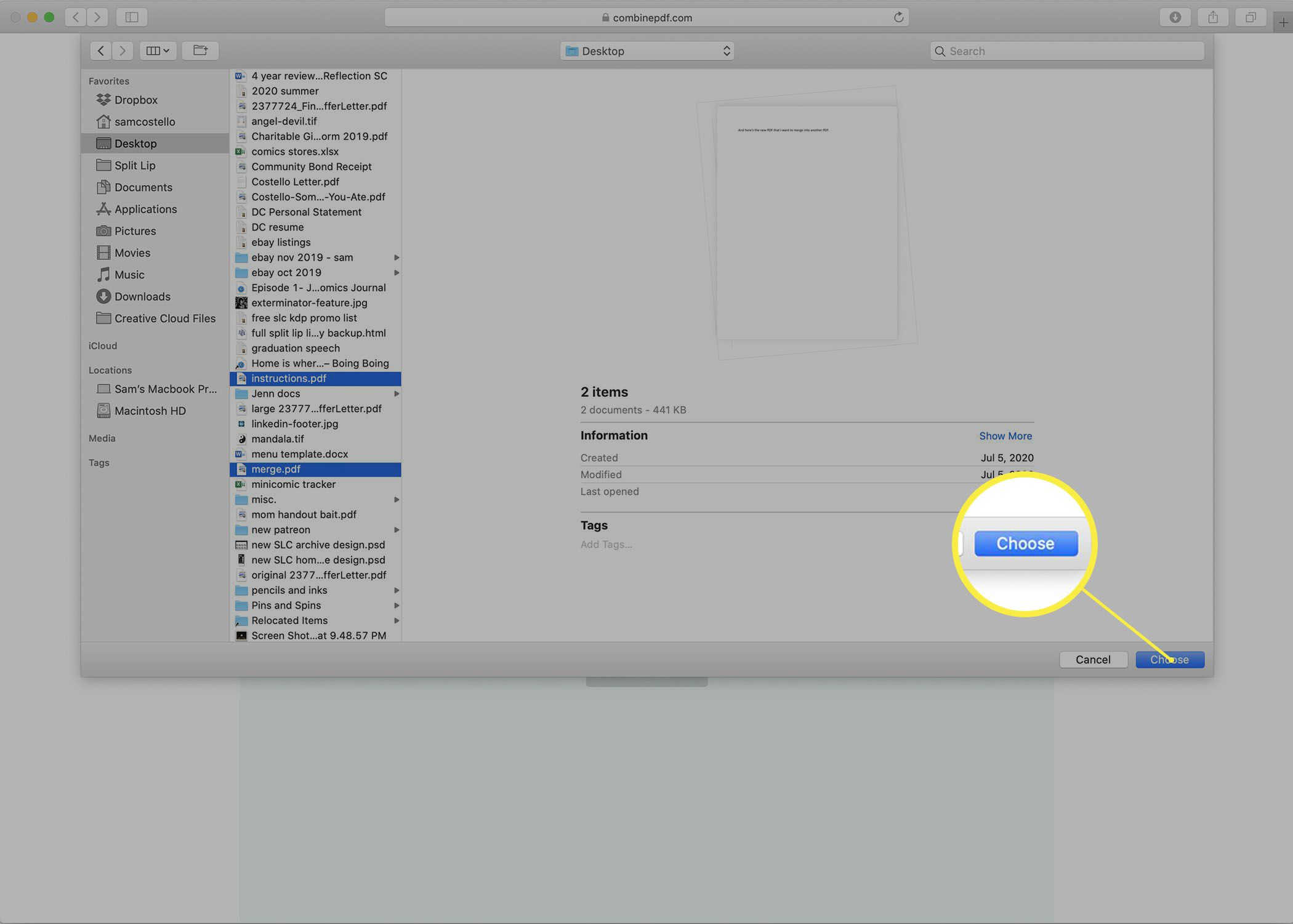 Adding files from a Mac to the Combine PDF website.