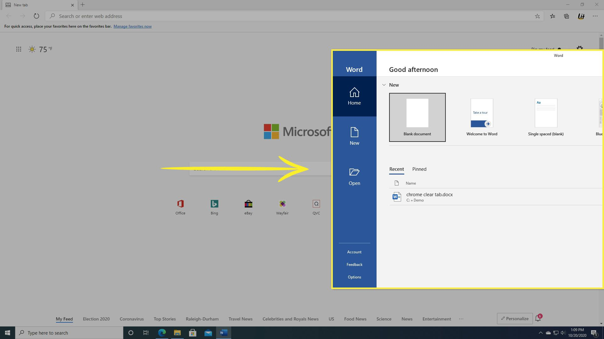 Dragging a second window in Windows 10.