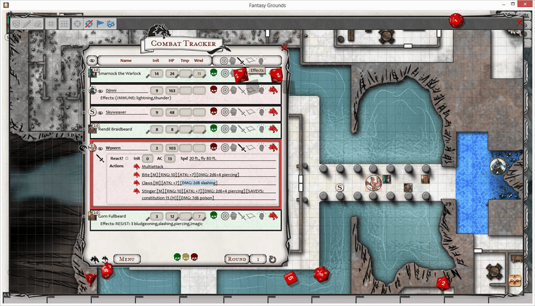 A screen shot of the Fantasy Grounds virtual table top