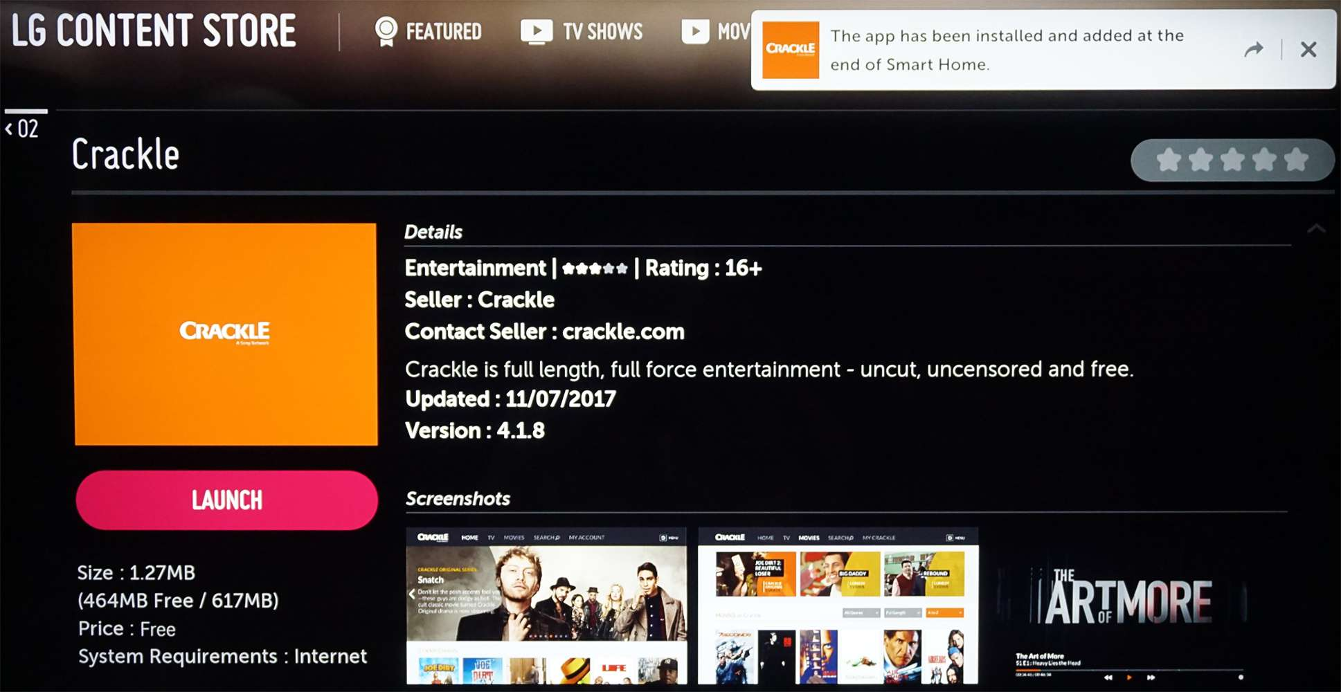 LG Content Store Crackle App Installed