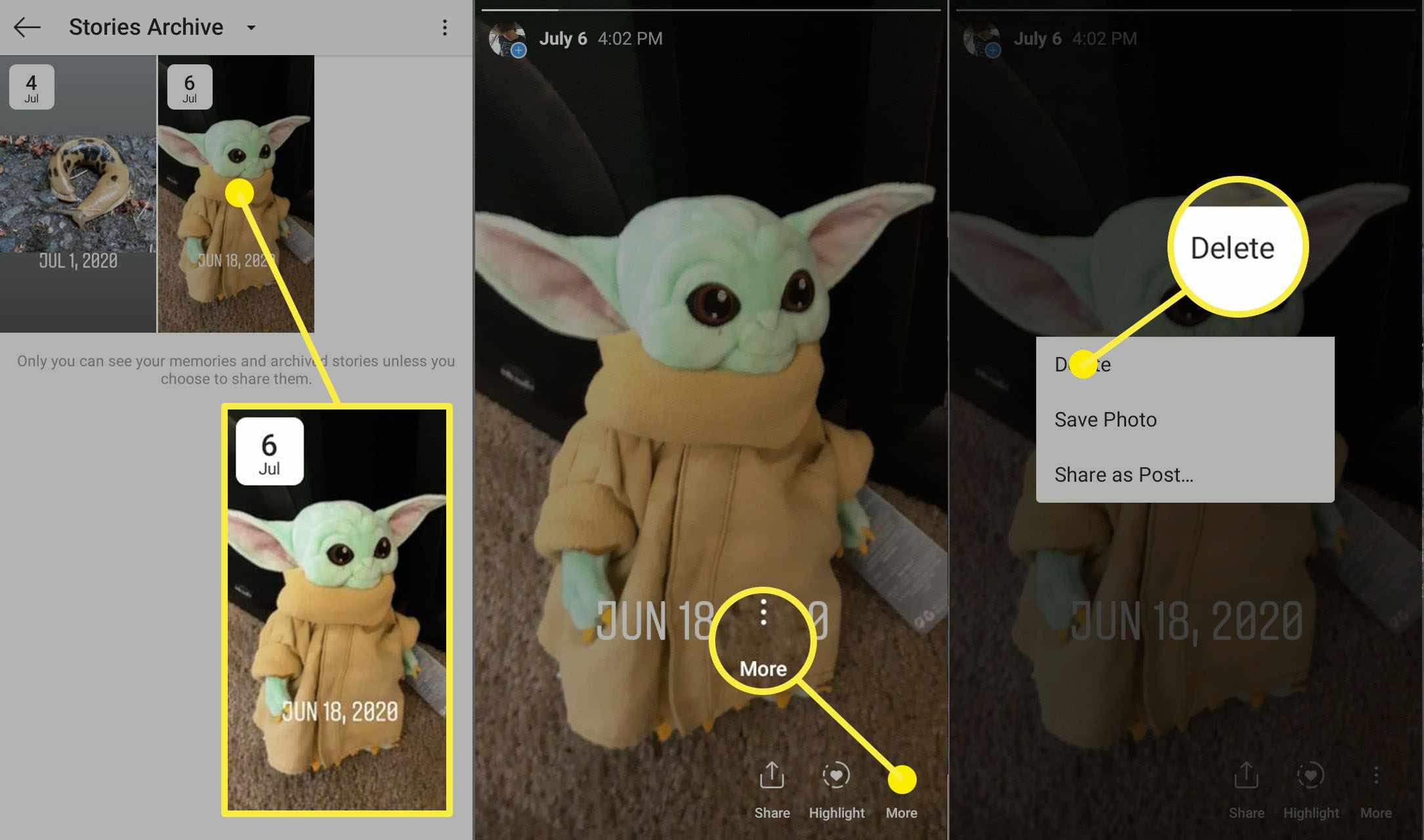 How to delete a story from the Instagram stories archive.