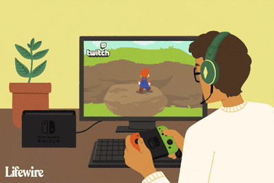 Person streaming a Mario game on Twitch with a Switch connected to a monitor