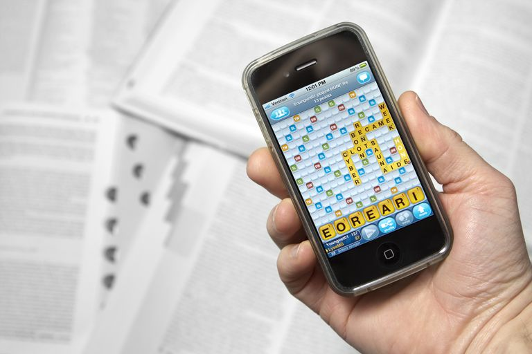 Shot of a smartphone with the Words With Friends app open.