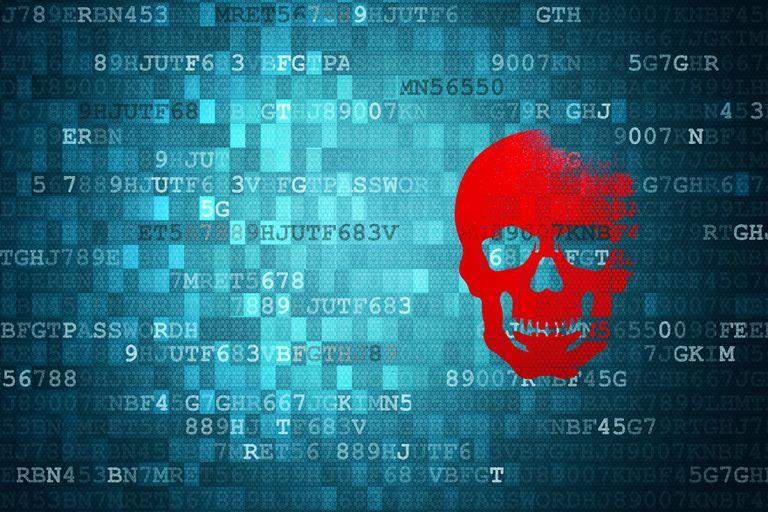 Skull on blue digital background