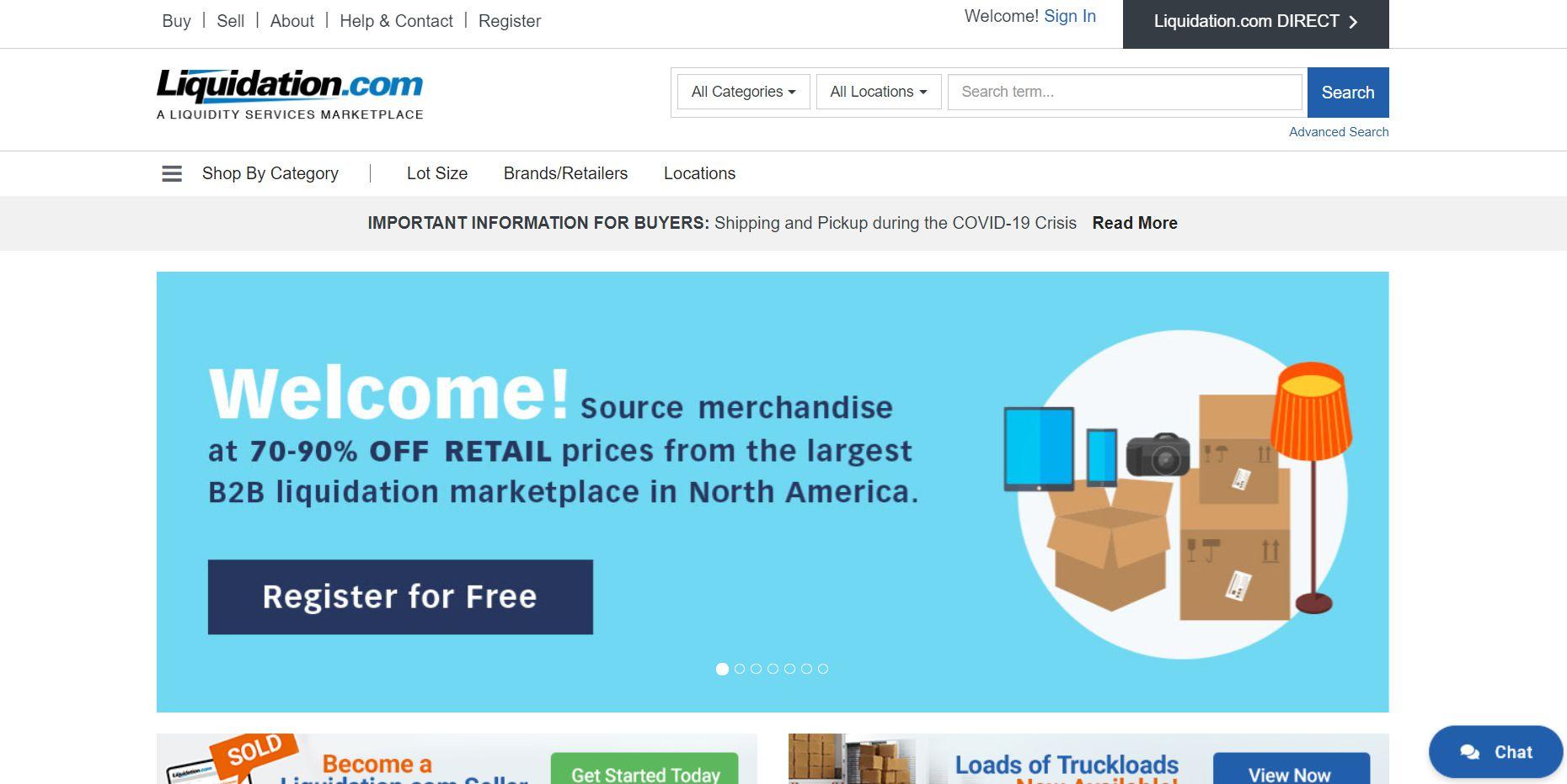 The homepage of Liquidation.com
