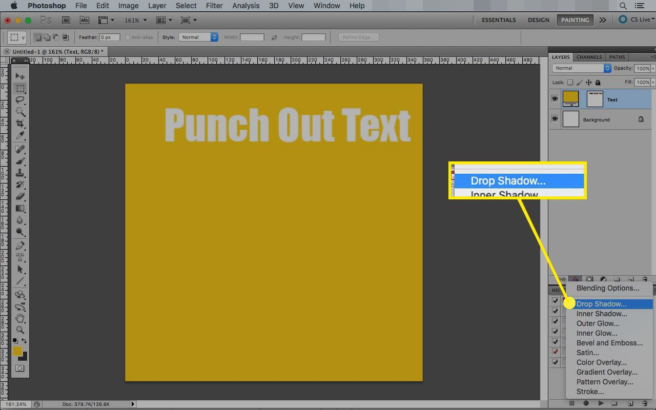 Photoshop on Mac with the Drop Shadow option highlighted