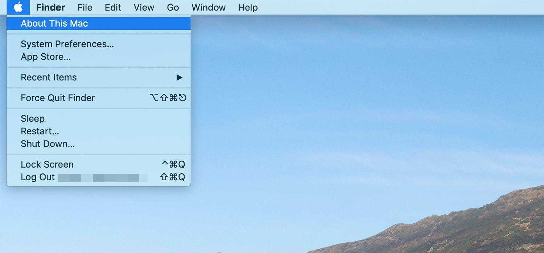 Apple menu on iMac