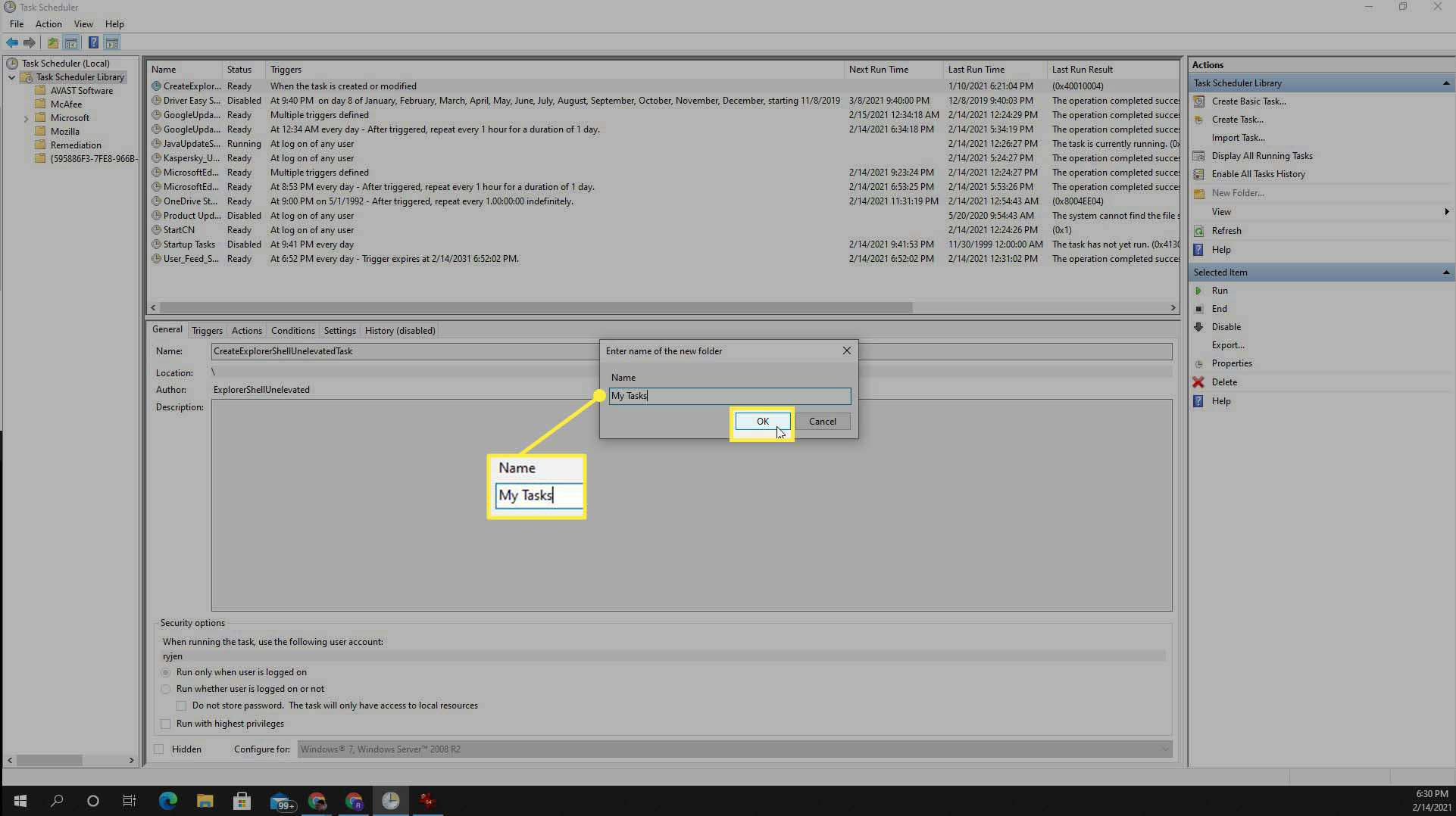 Selecting scheduled task trigger in Task Scheduler in Windows 10.