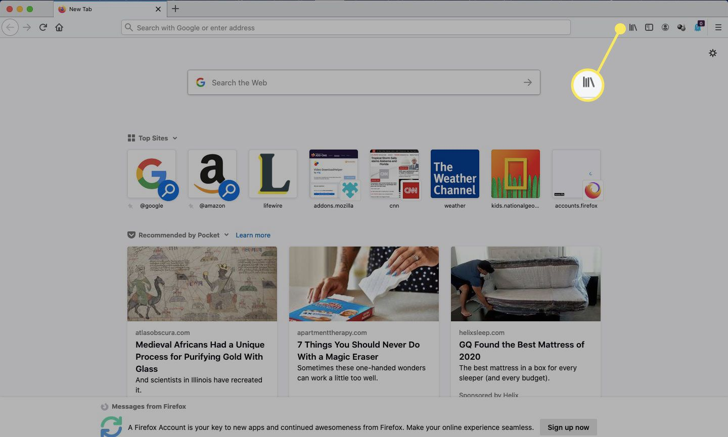 Open a Firefox window and select Library