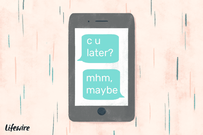 An illustration of 'mhm' being used in a conversation on a mobile device.