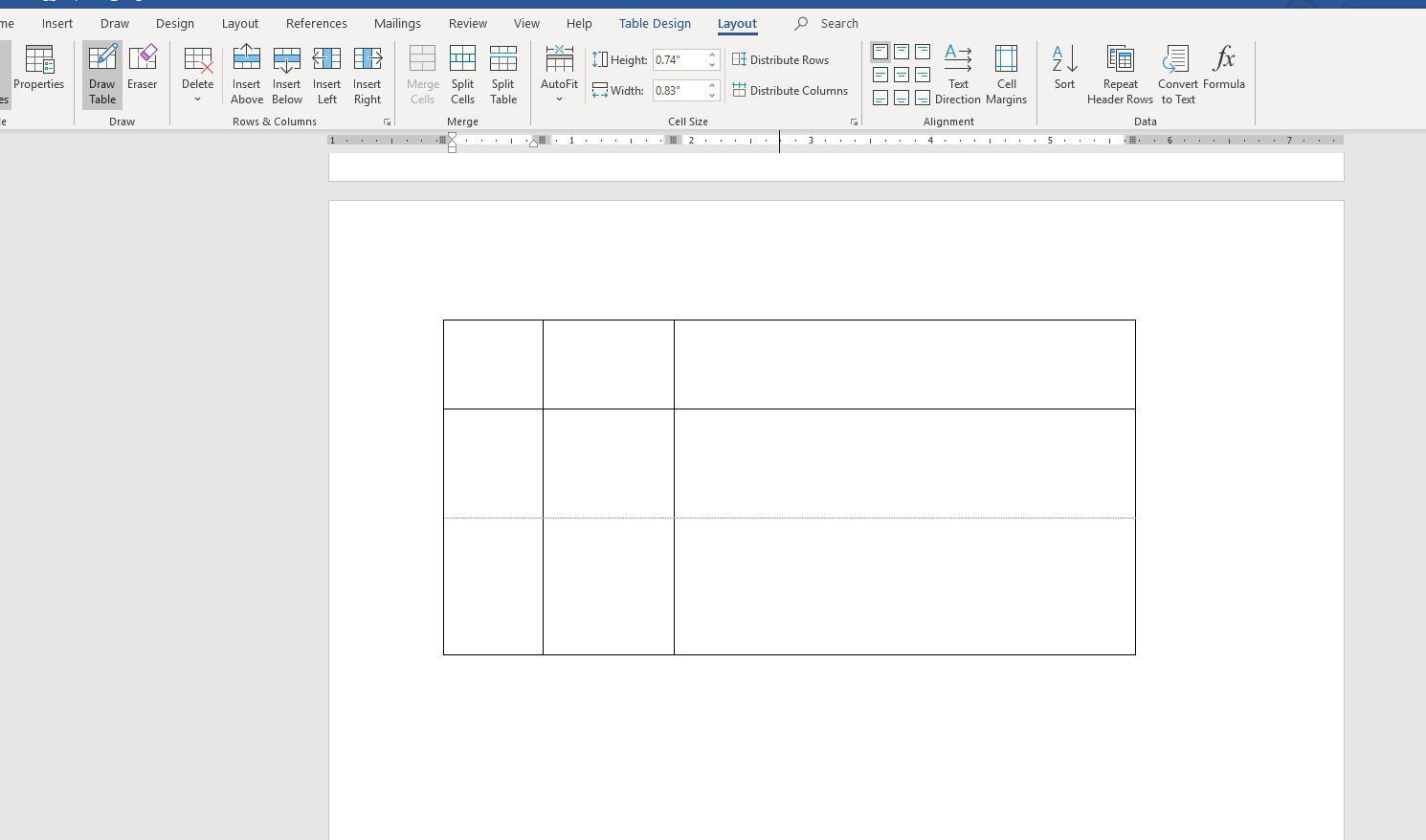 Screenshot of drawing a table in Word