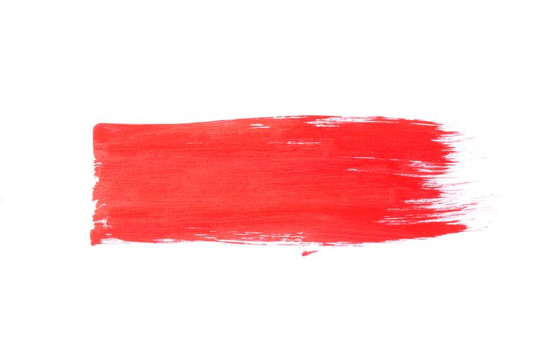 Red Vermilion brush stroke on white