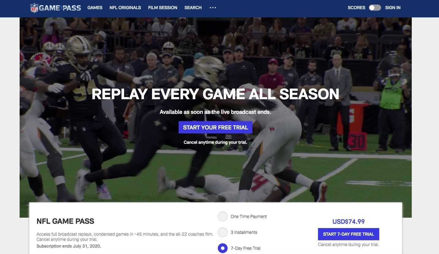 Screenshot of NFL GamePass, where you can listen to the Super Bowl