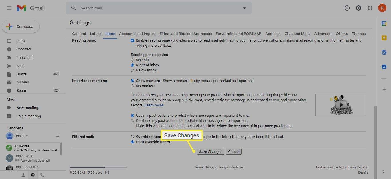 Save Changes in Gmail settings