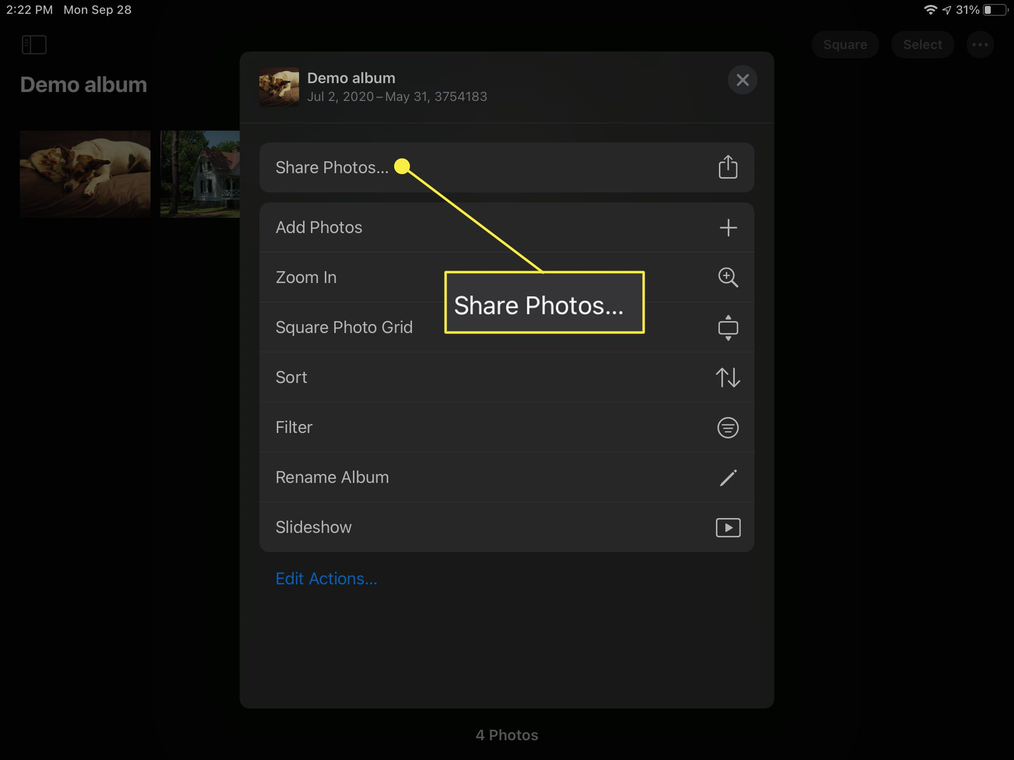 Sharing a photo in the Photos app