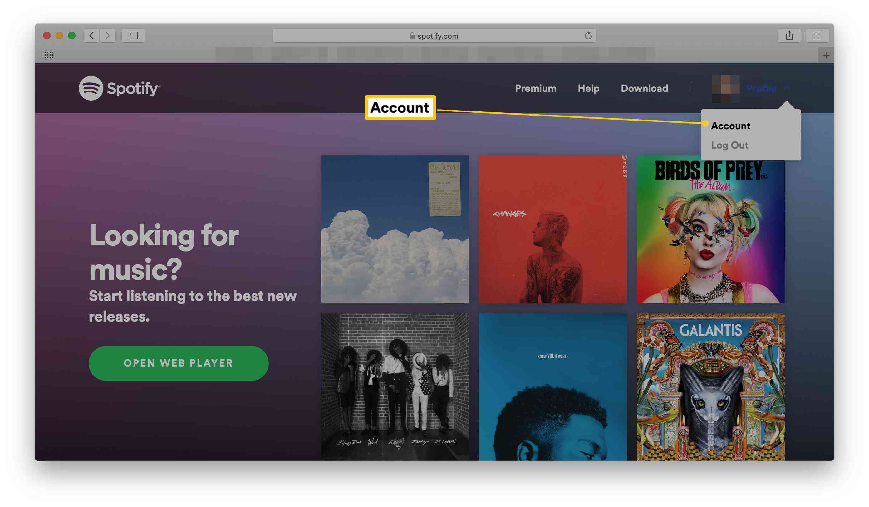 Spotify homepage with Account highlighted