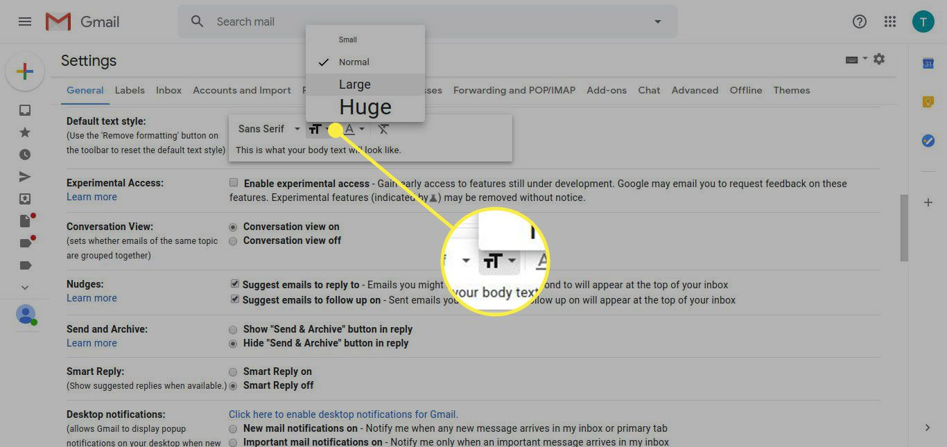 Gmail settings with the text size button highlighted