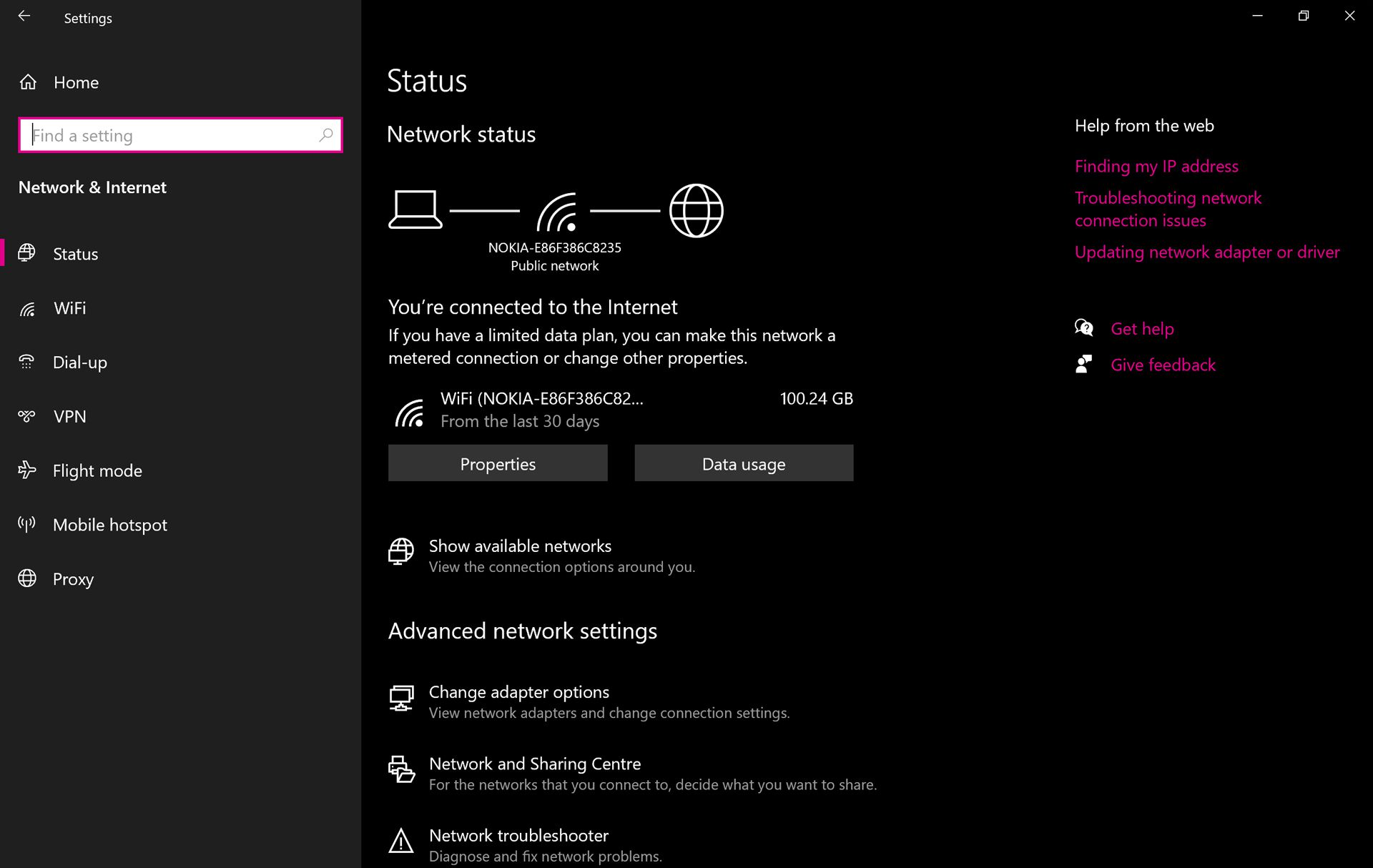 Windows 10 Network and Internet settings.
