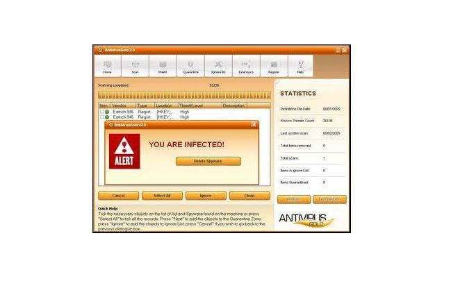 An example of spyware popping up as a computer virus warning.