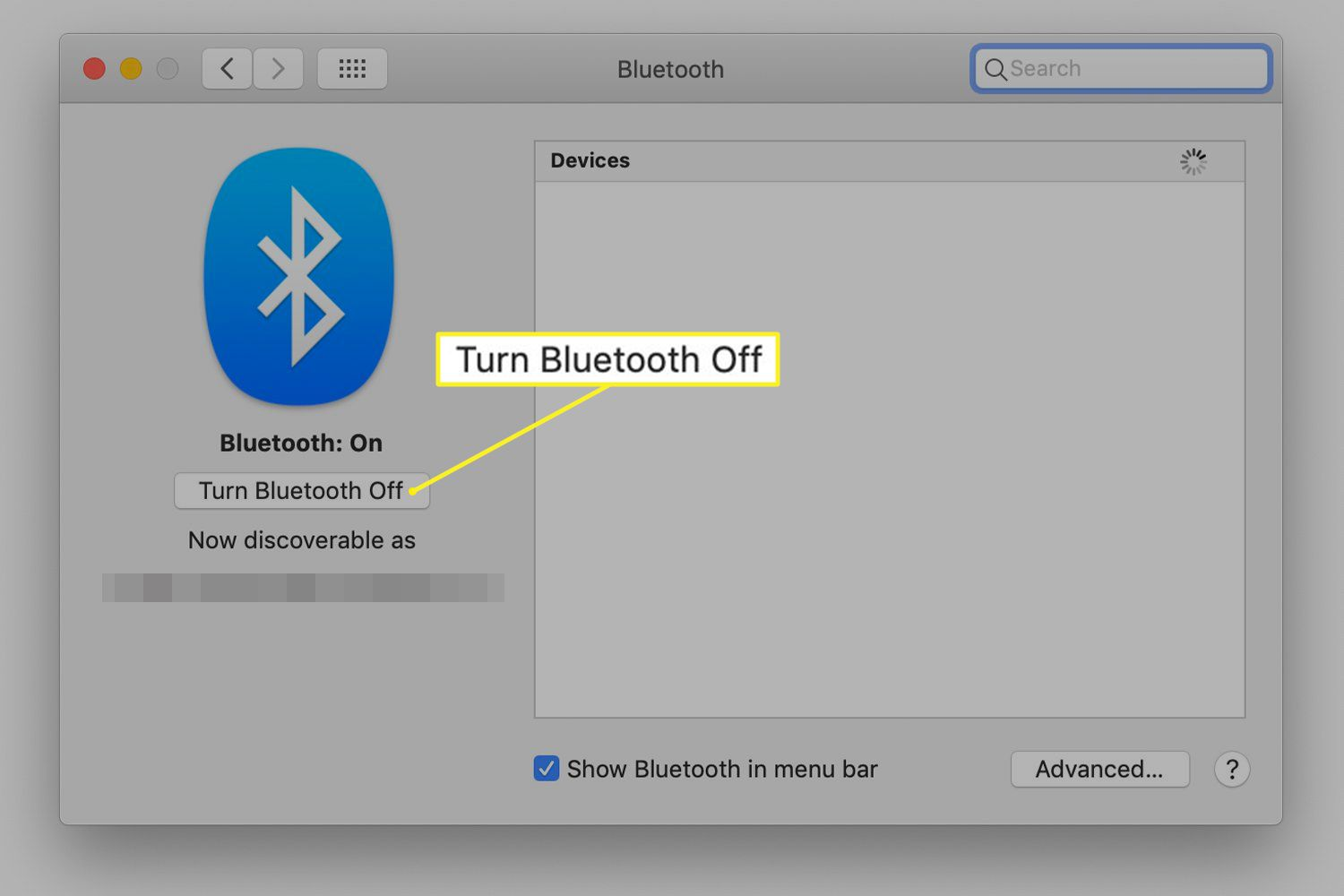 Bluetooth system preferences screen on a Mac