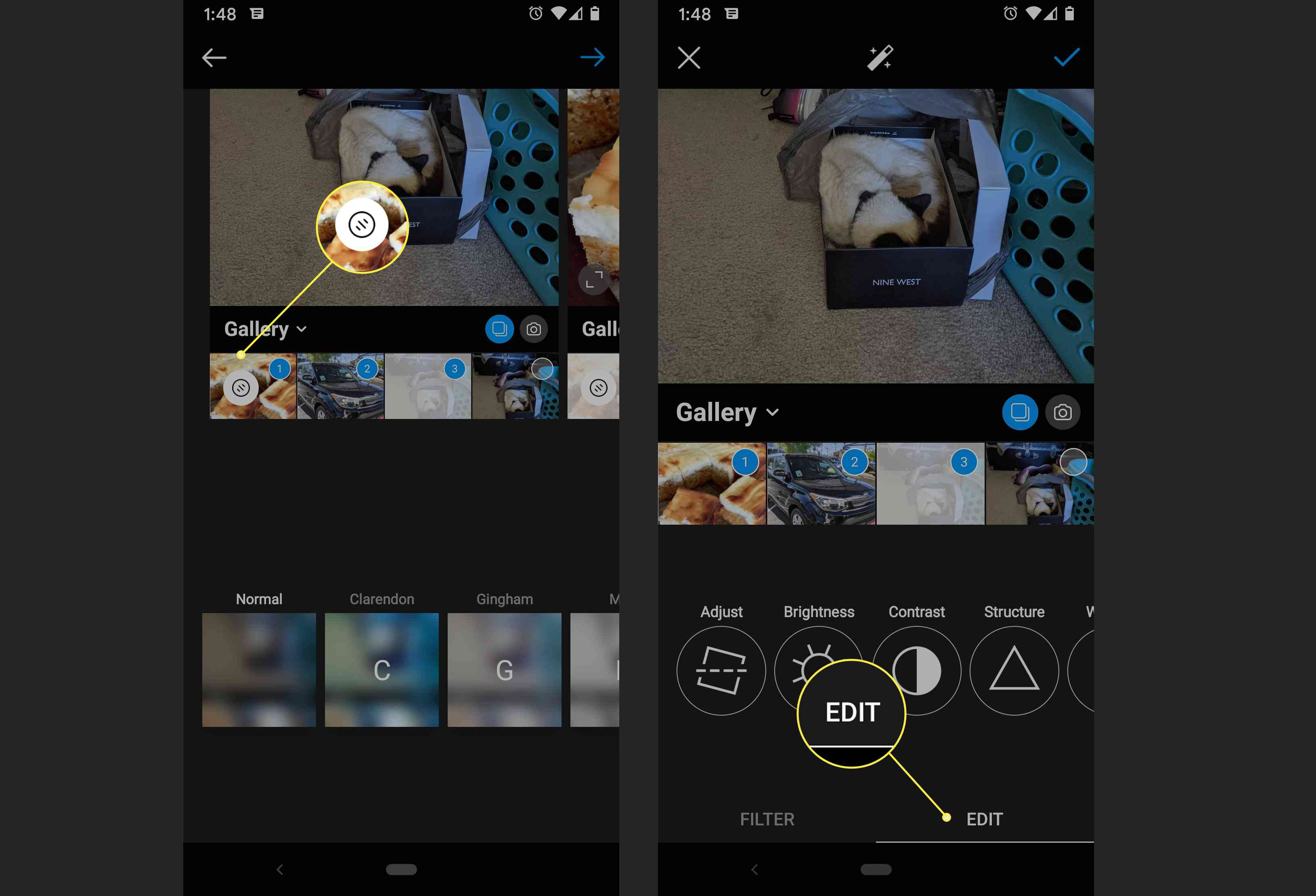 An Instagram user edits multiple photos for a new post