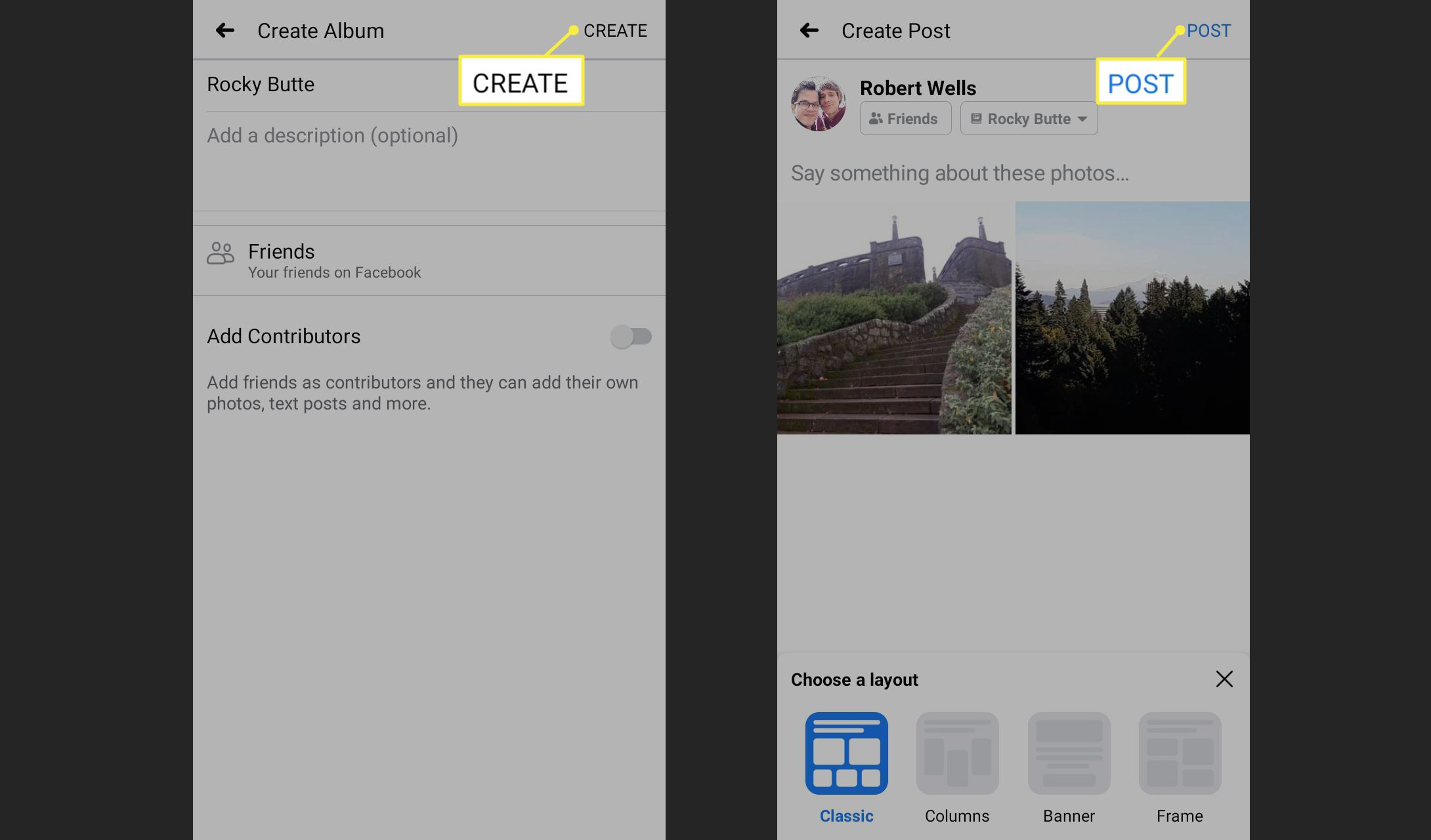 Create and Post in the Facebook app